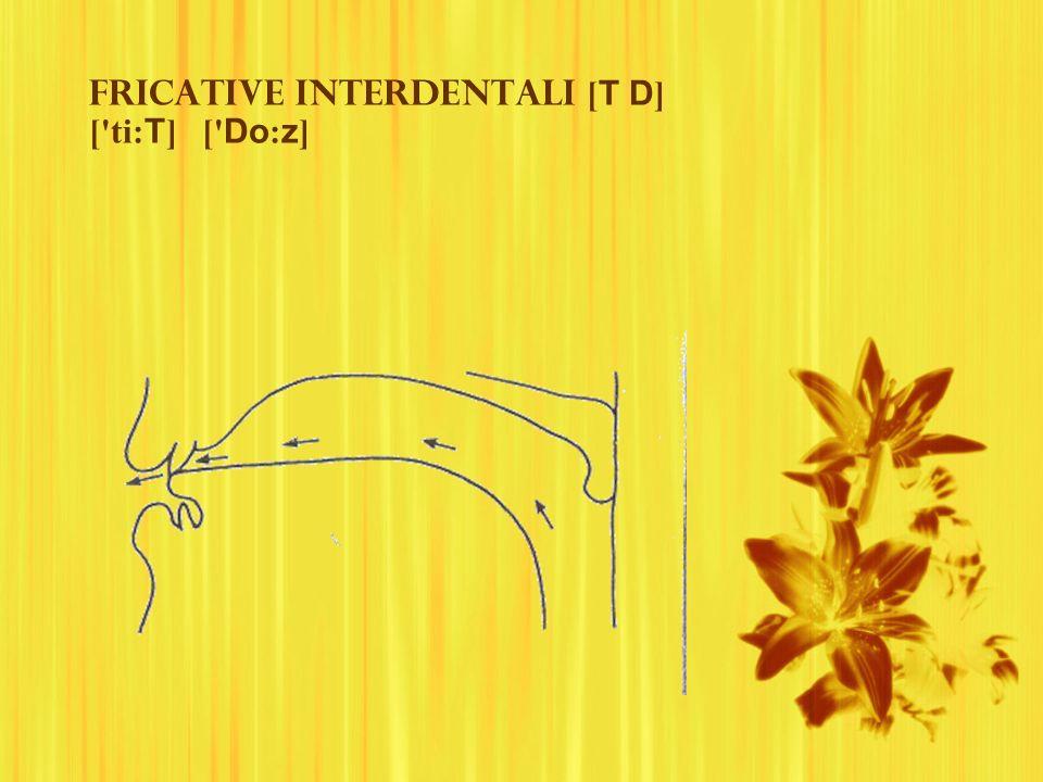 Fricative interdentali [T D] [ ti:T] [ Do:z]